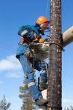 Electrician working on electricity pylon chainsaw Stock Photography