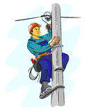 Electrician working on a pylon Royalty Free Stock Photography