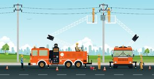 Electric Pole Repair Royalty Free Stock Photo