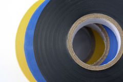Electricians Electrical Insulation Tape. Blue, yellow, black royalty free stock image