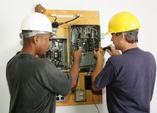 Electricians Repair Panel Royalty Free Stock Photography