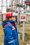 Electricians at the substation Royalty Free Stock Photo