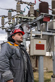 Electricians at the substation Stock Photography