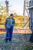 Electricians at the substation Royalty Free Stock Photos