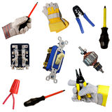 Electricians tool collection. Isolated over white background Stock Images