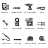 The Electricians tools flat icon set. This is a set of icons for websites and electronic applications. The icons have a size of 48 by 48 pixels. This is a royalty free illustration