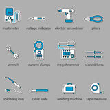 The Electricians tools icon set. This is a set of icons for websites and electronic applications. The icons have a size of 48 by 48 pixels. This is a vector vector illustration