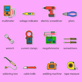 The Electricians tools icons set. The Electricians tools color icons set. This is a set of icons for websites and electronic applications. The icons have a size stock illustration