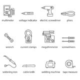 The Electricians tools line icon set. This is a set of icons for websites and electronic applications. The icons have a size of 48 by 48 pixels. This is a stock illustration