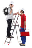 Electricians on white background Stock Photography