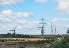 Electricidad generada viento Fotografía de archivo libre de regalías