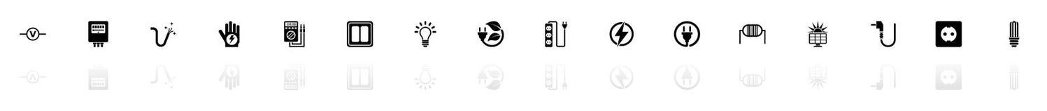 Electricidad - iconos planos del vector libre illustration