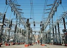Electricidad, industria, tecnología, potencia, línea eléctrica Foto de archivo libre de regalías