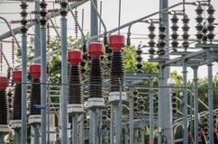Electricidad, industria, tecnología, potencia, línea eléctrica Imágenes de archivo libres de regalías
