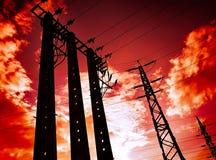 Electricidad postes Imagen de archivo