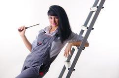 Electricista de la muchacha Imagen de archivo libre de regalías