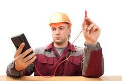 Electricista en el trabajo Foto de archivo libre de regalías
