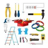 Electricista Icons Set Vector Electricista Accessories Escalera de mano, guantes, bombilla, alambre, destornillador, linterna, cu Ilustración del Vector
