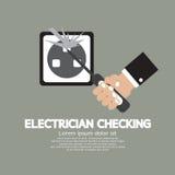 Electricista plano Checking del diseño Foto de archivo
