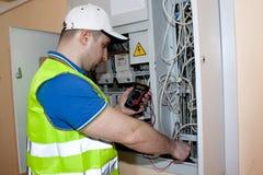 electricista Véame el trabajar Fotografía de archivo libre de regalías
