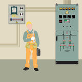 Electricista y equipo Imagenes de archivo