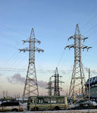 Electricity. Line of electricity transmissions in Russia stock photography