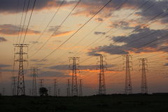 Electricity. Electrical power lines at dusk Royalty Free Stock Image