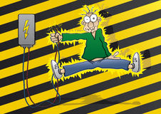 Electricity. Cartoon man gets an electric shock stock illustration