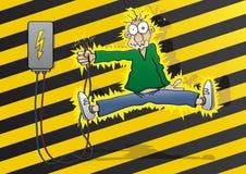 Electricity. Cartoon man gets an electric shock Stock Photography