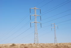 Electricity. Power supply line on a background of the blue sky Stock Photography