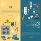 Electricity banners electrician tools Stock Photography