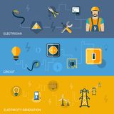 Electricity Banners Set Royalty Free Stock Photography