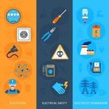 Electricity Banners Set Royalty Free Stock Photos