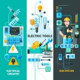 Electricity Banners Set. Electricity vertical banners set with electric circuitry symbols flat isolated vector illustration Royalty Free Stock Image