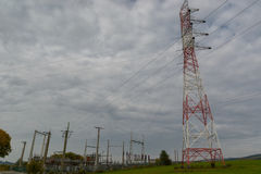Electricity blackout  junction and pylon Royalty Free Stock Image