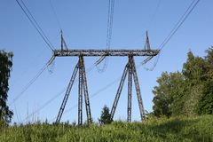 Electricity cable communication towers Royalty Free Stock Photos