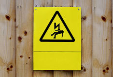 Electricity caution sign on wood fence in Birmingham downtown Royalty Free Stock Photography