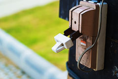 Electricity circuit breakers. (fuse box royalty free stock photos