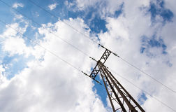 Electricity with cloudy sky. Power line with cloudy sky Stock Images