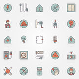 Electricity colorful icons Stock Images