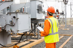 Electricity company substation worker Royalty Free Stock Photo