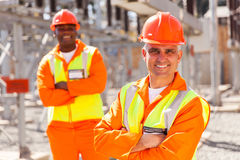 Electricity company workers Royalty Free Stock Photo