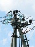 Electricity.Complex Knotenpunkt der Überfahrtdrähte. stockfotos