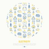 Electricity concept in circle. With thin line icons: electrician, bulb, pylon, toolbox, cable, electric car, hand, solar battery. Vector illustration for banner Royalty Free Stock Photo