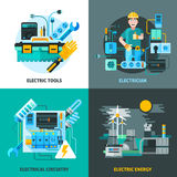 Electricity Concept Icons Set. With electric tools and energy symbols flat  vector illustration Stock Photo