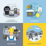 Electricity Concept Icons Set. With electricity export symbols flat  vector illustration Royalty Free Stock Photo
