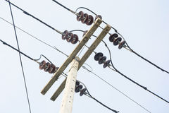 Electricity concrete pole with wires Royalty Free Stock Images