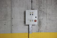 Electricity control box. In the wall stock photo