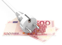 Electricity costs. 3d generated picture of a white power cable on 500 Euro notes royalty free illustration