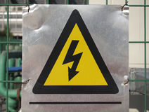 Electricity Danger sign. In the metal plate Royalty Free Stock Photo